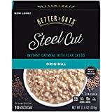 Better Oats Steel Cut Instant Oatmeal with Flax Seeds, Original, 10-Pouch Boxes (Pack of 6)
