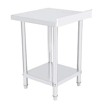 Consola de doble capa de acero inoxidable, mesa de trabajo ...