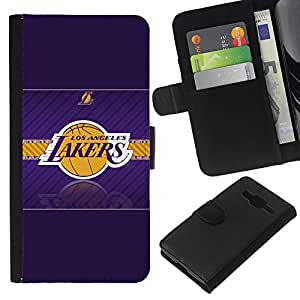 Stuss Case / Funda Carcasa PU de Cuero - LA Lakers Baloncesto - Samsung Galaxy Core Prime