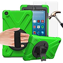 Gzerma Fire HD 8 Case with Screen Protector 2017, 3in1 [Kid Proof] [Shock Proof] Rugged Heavy Duty Defender Protective Cover, Kickstand, Hand Strap for Amazon Fire HD8 Tablet 7th Generation, Green 1
