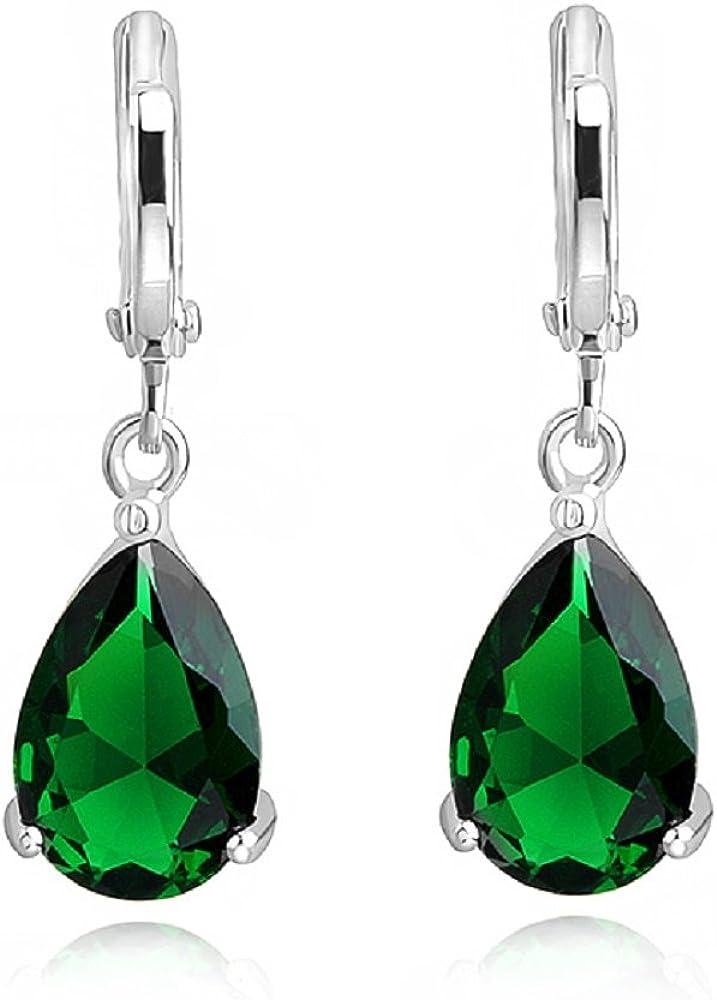 Lágrimas Pendientes con Esmeralda simulada verde Cristales austríacos de Zirconia18k Chapado en oro para mujer