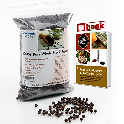 Pure Whole Black Peppercorns, Premium Quality, FDA approved, No Pesticides, Steam Sterilized for Freshness, Resealable Bag, Approx. 7 oz.