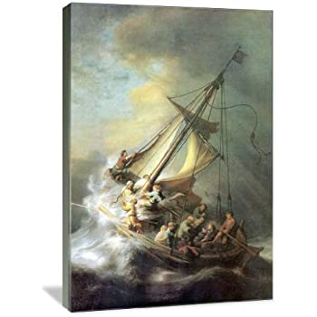 Amazon storm on the sea of galilee poster by rembrandt van christ in a storm on the sea of galilee 24 x 36 gallery wrapped publicscrutiny Images