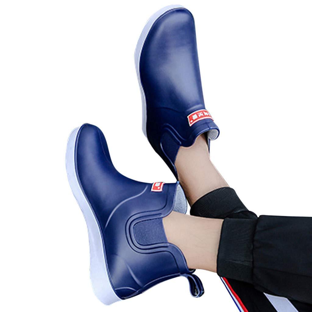 IILOOK Herren Sport Regen Stiefel flach runden Kopf Wasserschuhe rutschfest wasserdicht niedrig um Regen Stiefel Mode l/ässig Charme charmante Bequeme Herrenschuhe zu helfen