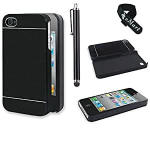 vMart Premium Chrome Aluminum Wire drawing Hard Case for iPhone 4/4s -Black