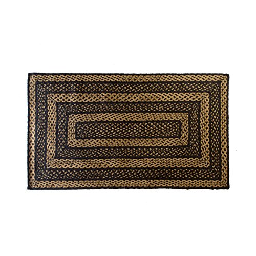 India House Black Rectangle Rug - VHC Brands Classic Country Primitive Flooring - Farmhouse Jute Black Rug, 2'3