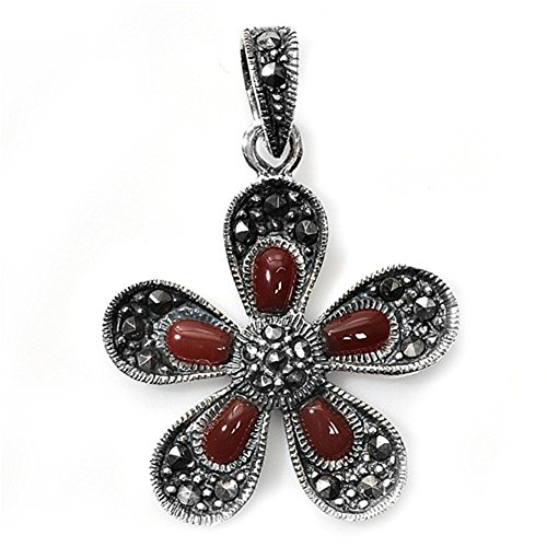 (Flower Pendant Simulated Carnelian Marcasite .925 Sterling Silver Charm - Silver Jewelry Accessories Key Chain Bracelet Necklace Pendants)