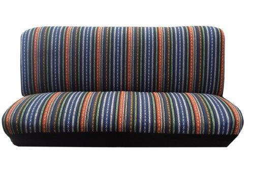 Baja Blue Saddle Blanket Bench Seat Cover Standard Fit Colorful Stripes (Standard Seat Bench)