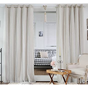 Best Home Fashion Dotted Lace Overlay Thermal Insulated Blackout Curtains