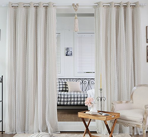 """Best Home Fashion Dotted Lace Overlay Thermal Insulated Blackout Curtains - Stainless Steel Nickel Grommet Top - Beige - 52"""" W x 84"""" L - (Set of 2 Panels) -  - living-room-soft-furnishings, living-room, draperies-curtains-shades - 51D9Y4IdSTL -"""