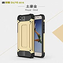 YHUISEN Dual Layer Heavy Duty Hybrid Armour Tough Style Shockproof PC+TPU Protective Hard Case for Huawei Honor 5A / Y6 II / Y6 2 ( Color : Gold )