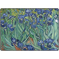 INGBAGS Super Soft Modern Van Gogh Butterfly Orchid Flower Area Rugs Living Room Carpet Bedroom Rug for Children Play Solid Home Decorator Floor Rug and Carpets 63 x 48 Inch