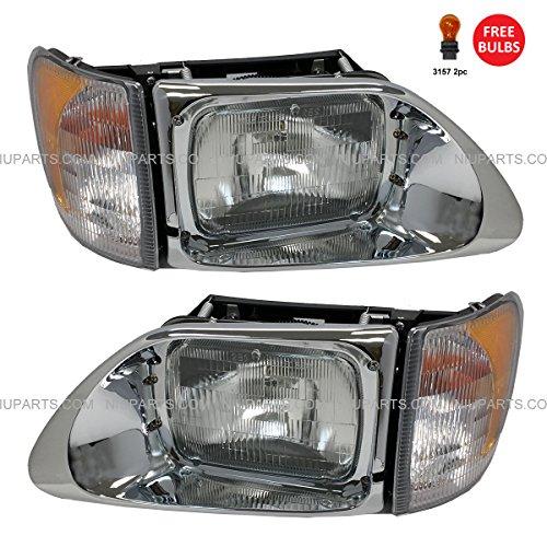 1998 International Truck - Headlight with CORNER LAMP - Driver & Passenger Side (Fit: International 9200 9400 5900)