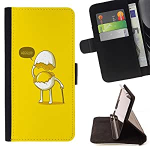BETTY - FOR Sony Xperia M2 - Funny Egg Gentleman - Style PU Leather Case Wallet Flip Stand Flap Closure Cover