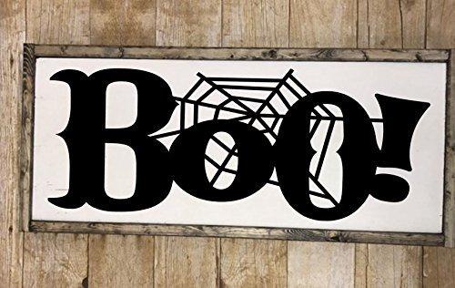 Boo spiderweb halloween sign -