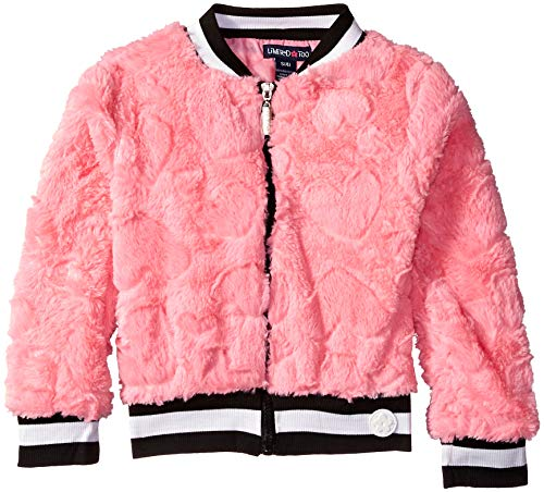 (Limited Too Girls' Little' Embossed Faux Fur Bomber Jacket, Pink, 6X)