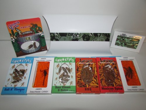 EXTREME EDIBLE INSECTS SAMPLER PACK of 2- Crickets 2- Larvets 1- Chocolate Covered Insects 1- Ant Candy 1- Amber Scorpion 1- Amber Insects in custom decorative box
