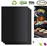 HASME Grill Mat - Set of 3 100% Non Stick Heavy Duty BBQ Grill Mat - Easy to Clean and Reusable Grilling Mat for Weber Char-Broil Coleman Blackstone Gas Charcoal Electric Grill Toppers Mats