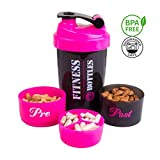 Fitness Bottles 600mL/20oz Shaker Bottle, To Go Sports Pre and Post Workout Compartment Mixer with Steel Whisk (Pink & Black)
