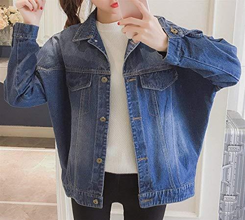 Outerwear Elegante Giaccone Blau Primaverile Manica Ricamo Denim Button Con Lunga Jeans Giacca Hipster Autunno Casual Tasche Bavero Giacche Coat Cappotto Moda Donna Classiche qXPFBRF