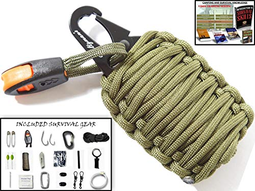 Holtzman's Gorilla Egg : 550 Paracord Grenade Emergency Kit - Your Survival Pack Has an Upgraded Military Grade Carabiner Snap Hook is Stuffed with 18 Tools (Green and Yellow)