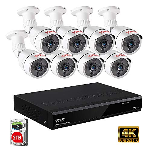 【Ultra HD 4K 8MP DVR】Tonton Expandable 5MP Home Security Camera System Wired,8-Channel Ultra HD 4K 8MP DVR Recorder with 2TB HDD,8PCS 5MP Outdoor Bullet Cameras,Smart Motion Detection&Alerts,Metal Housing,Easy Remote Access