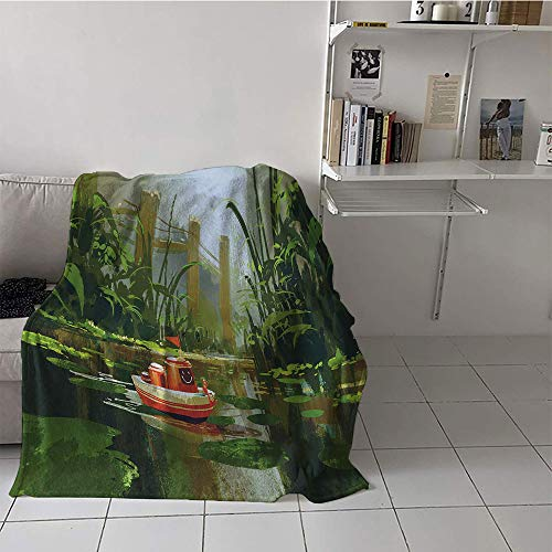 - Khaki home Children's Blanket Throw Soft Blanket Microfiber (35 by 60 Inch,Fantasy,Toy Boat with Smile Face Robot Sailing on River Forest Cartoon Inspired Kid Friendly,Red Green