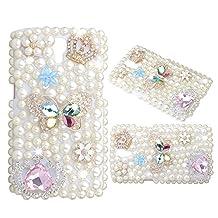 KAKA(TM) Diamante Butterfly Crown Flowers Pearls Diamond Crystal Rhinestone Hard Cover Case for Samsung Galaxy Mega 2 G750 G750A
