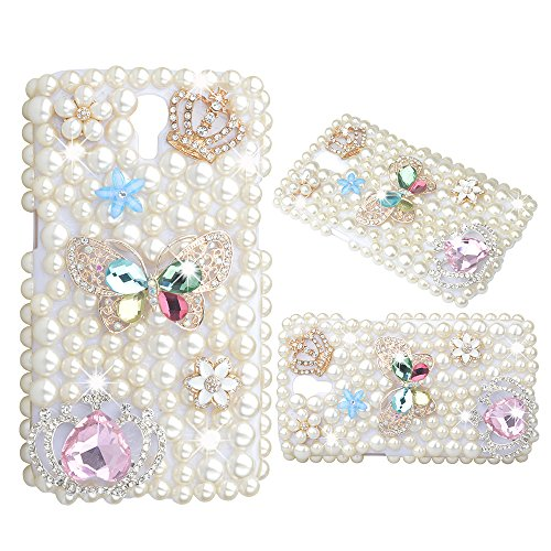 KAKA(TM) Diamante Butterfly Crown Flowers Pearls Diamond Crystal Rhinestone Hard Cover Case for Samsung Galaxy S4 I9500