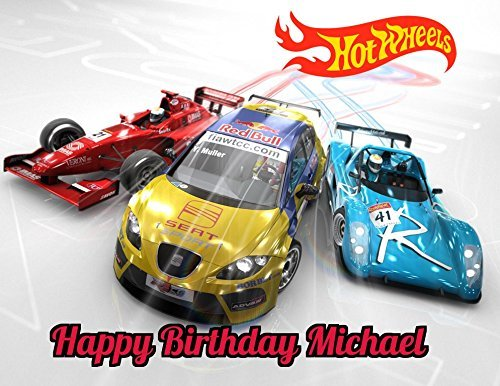 Hot Wheels Race Car Edible Image Photo Sugar Frosting Icing Cake Topper Sheet Personalized Custom Customized Birthday Party - 1/4 Sheet - 79032]()