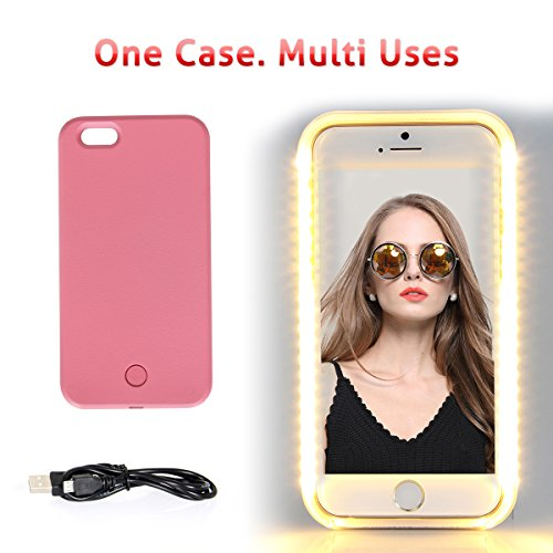 iPhone 6 6s Plus LED illuminated Case,Walnut LED Lighting up Phone Case for Selfies/Applying Make-Up/Videos/Flashlight/Facetime, Protects Phone & includes Charger For iPhone 6 Plus/6S Plus-Pink (Crazy Iphone 5 Charger)