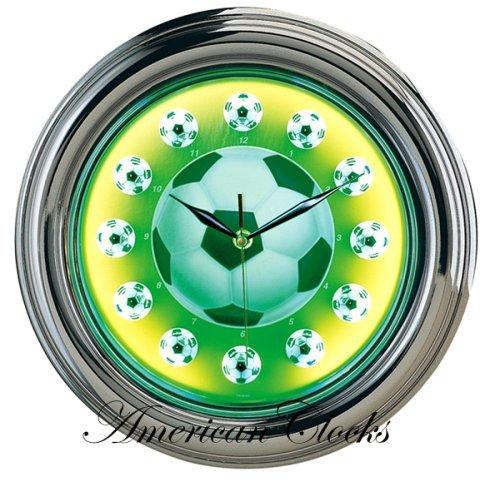3D Soccer Sport Neon Wall Clock