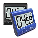 2 Pieces Digital Magnetic Kitchen Timers with Loud Alarm Ring, SENHAI Countdown Large LCD Display Screen Timers with Stand/Clip, Count Up Down 99 Min 59 Sec - Black, Blue