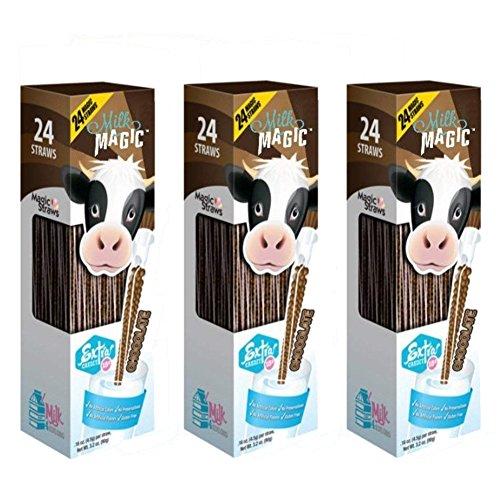 Chocolate Straws - Milk Magic, Milk Straws, 24 Count (0.16oz Each), Chocolate, (3 packs)