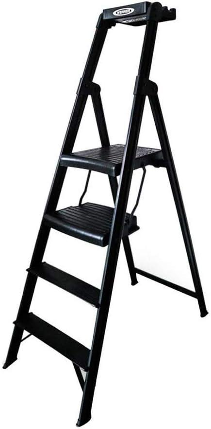 MMAXZ Escalera Plegable de 4 peldaños Altura 150 cm Aleación de Aluminio Material Escalera Ascendente Negra Escalera de Pedales Engrosamiento de la casa Escalera de Escalada Escalera de decoración de: Amazon.es: Hogar