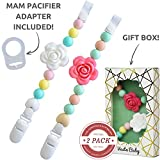 Vesta Baby Silicone Pacifier Clip and Teether Holder with MAM Adapter for Teething Infant Girls, Set of 2 Soothie Chewable Pacifier Straps with Roses Chew Beads