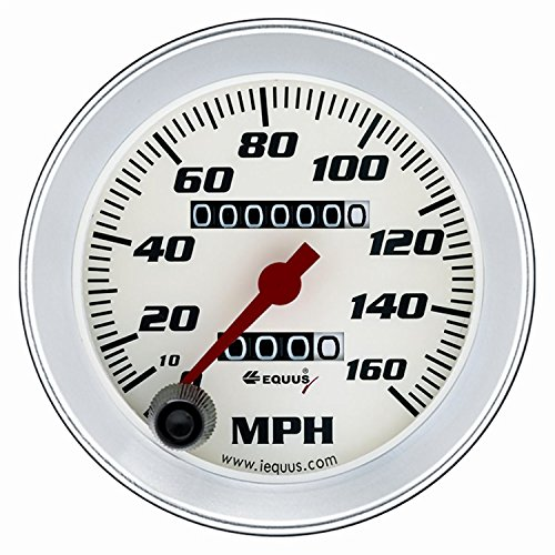 """Hot 3-3/8"""" Speedometer White with Silver Bezel Equus 8076 free shipping"""