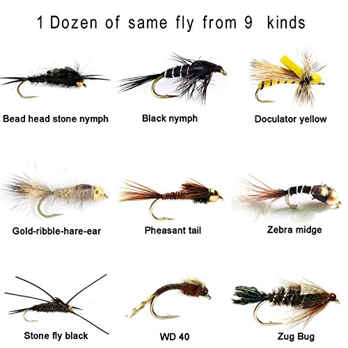 Aventik 12 Pieces Top Rating Mayfly Stonefly nymph midge nymph Flies nymph Trout Fly Fishing Flies Fly super sturdy Flies realistic look( 1 dozen) (#16, May nymph Pheasant tail)