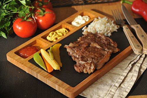Bambum Tasev Phelee - Stone Granite Steak, Vegetables Presentation and Serving Plate & Serving Tray - 3 Part Serving Plate (Stone Plates)