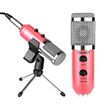 Neewer Professional USB Condenser Microphone with Butterfly Clip,Desktop Tripod Stand,XLR Female to USB and 3.5mm Male Split Cable,Ball-type Windscreen Foam for Recording, Podcast,YouTube Video(Pink)