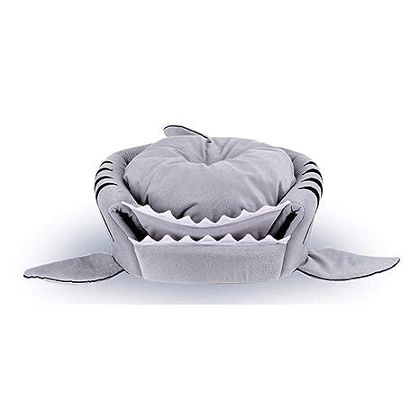 JEELINBORE Práctica Casa de Mascotas Ronda Tiburón Cama para Perros y Gatos (Gris #1, M: 50 * 50 * 48cm): Amazon.es: Hogar