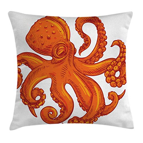 Ambesonne Octopus Throw Pillow Cushion Cover, Octopus Pattern Illustration Underwater World Wild Nature Themed Artwork Print, Decorative Square Accent Pillow Case, 16