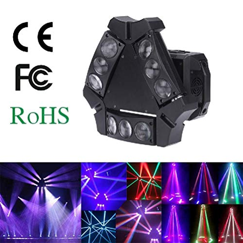 Toran Home Beam Stage Light Spider Lamp 90W 9Led RGBW Full Color Dmx512 Dj Laser Stage Light Sound Control Auto 16/48 Channel Disco Light ()