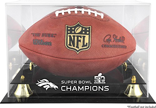 Broncos Display Cases (Sports Memorabilia Denver Broncos Golden Classic Football Super Bowl 50 Champions Logo Display Case - Fanatics Authentic Certified)