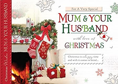 words n wishes mum husband christmas card fireplace stockings