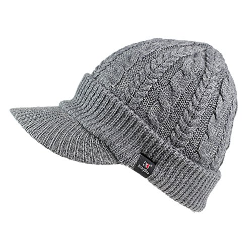 Home Prefer Women's Newsboy Hat Braid Soft Knit Winter Beanie Hat with Visor Light Gray