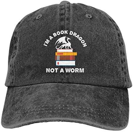 I Am Book Dragon Not A Worm Denim Baseball Cap Men Adjustable Dad Fitted Hat