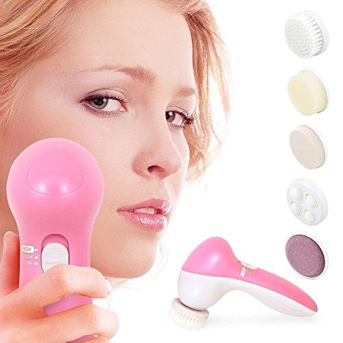 Incutex 5-in-1 elektrische Gesichtsreinigungsbürste Gesichtspflege-Set Gesichtsmassagegerät inkl. 5 Aufsätze