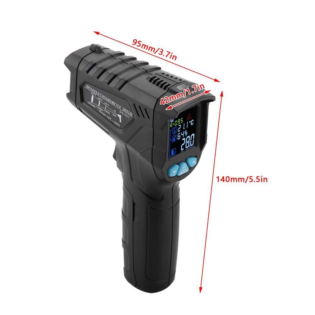 58 ~ 1472 ℉ Einstellbarer Emissionsgrad Feuchtigkeits-Alarm Einstellung Max//Hold Infrarot-Thermometer-Temperaturpistole Ber/ührungslose Laser-Digital-Thermometer mit Farb-LCD-Bildschirm -50 ~ 800 ℃