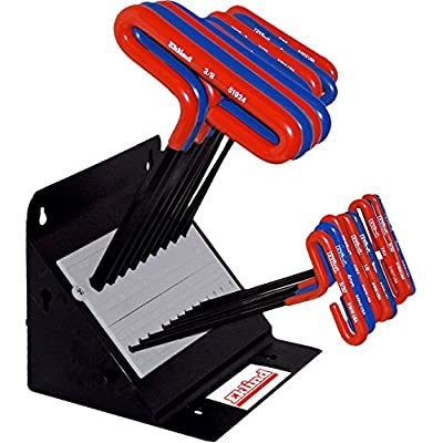 EKLIND 50918 Cushion Grip Hex allen wrench T-Handle Key Combo- 9in Inch/MM (2 sets 18pc) w/ stand